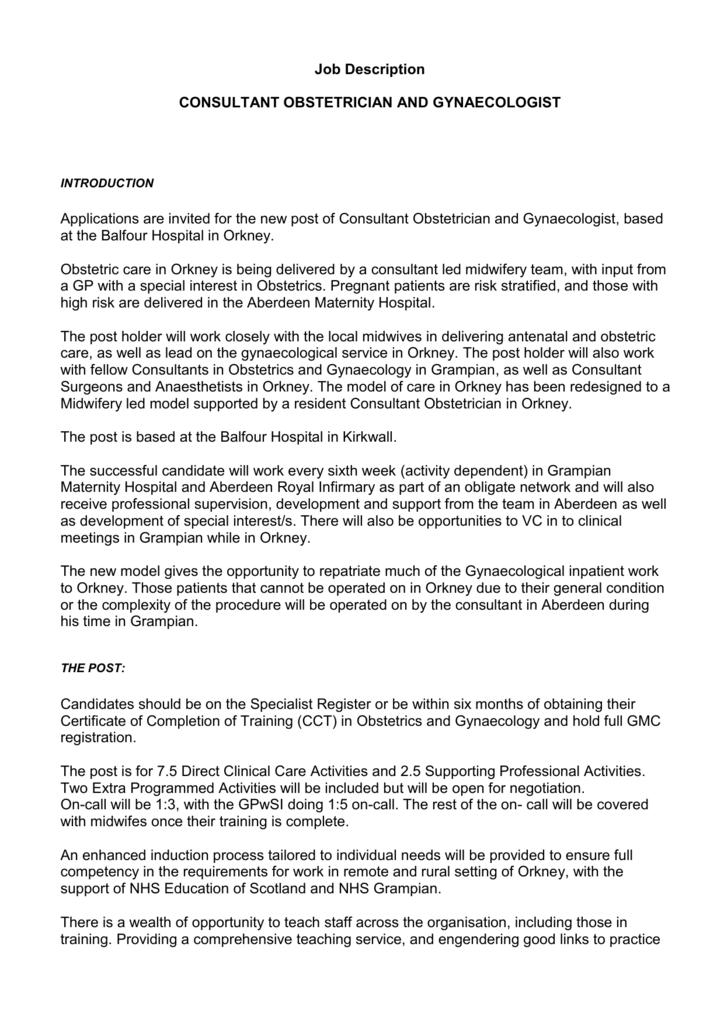 proposed job plan - NHS Scotland Recruitment