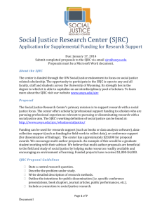 Social Justice Research Center (SJRC) Application for