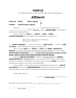 Affidavit - Catholic Cemeteries