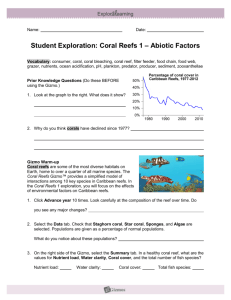 Student Exploration: Coral Reefs 1 – Abiotic Factors