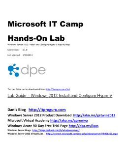 IT Camp -Hands On Lab (HOL) Hyper-v Step-By