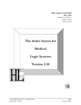 Arden Syntax for Medical Logic Systems