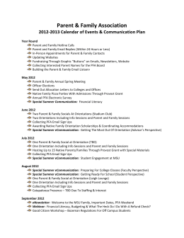 2012-2013 Calendar of Events & Communication Plan