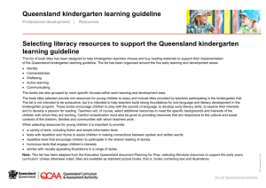 Kindergarten: Selecting literacy resources, QKLG