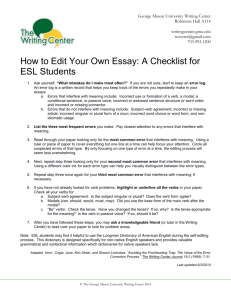 An Editing Checklist for ESL Students