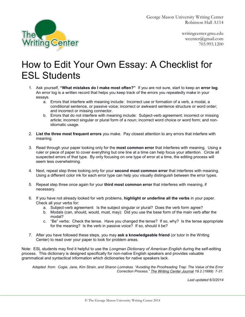 writing descriptive essays for esl students