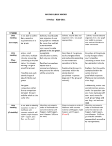 MATHS RUBRIC KINDER II Period 2010