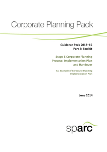 5a Example of Corporate Planning Implementation Plan
