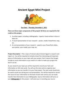 Ancient Egypt Mini Project Due Date – Thursday, December 1, 2011