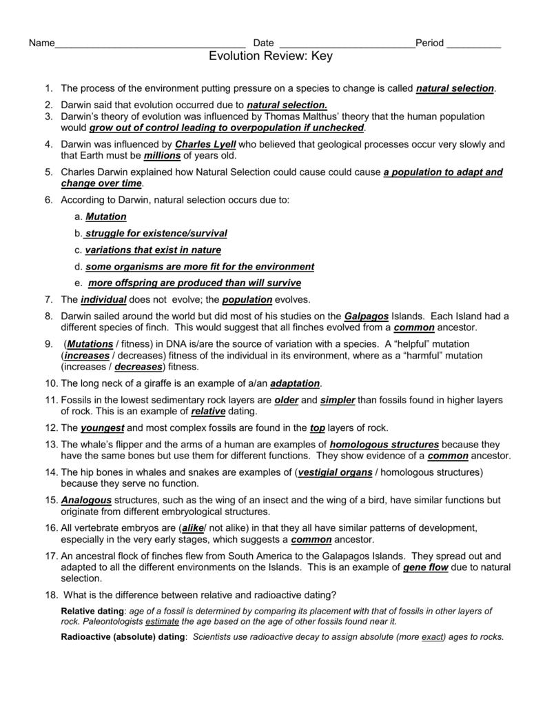 worksheet 16.4 Evidence Of Evolution Worksheet Answers evolutionreviewsheet2015key