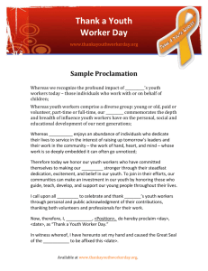 Proclamation - Thank a Youth Worker Day