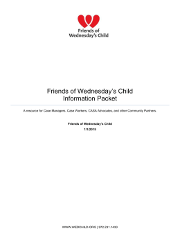 Friends of Wednesday*s Child Information Packet