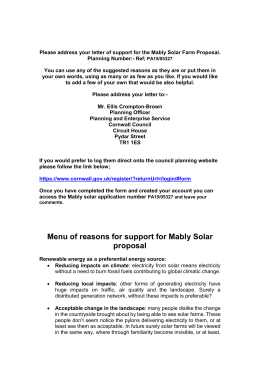 Menu of reasons for support for Mably Solar proposal