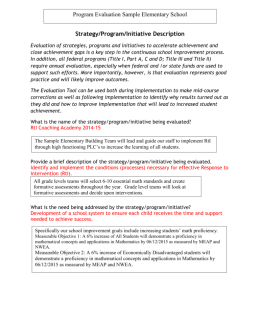 Program Evaluation Sample Elementary School Strategy/Program