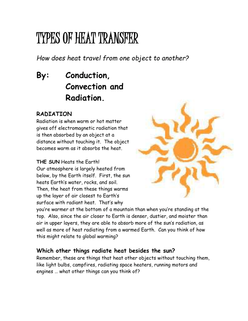 worksheet Worksheet Methods Of Heat Transfer Answers unit types of heat transfer adapted