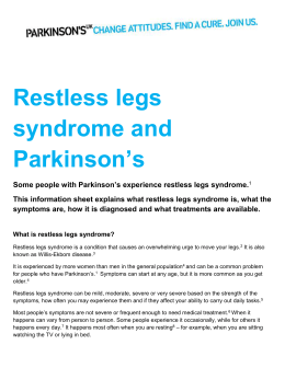 Restless legs syndrome and Parkinson`s