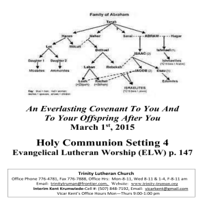 March 1, 2015 Bulletin - Trinity Lutheran Church
