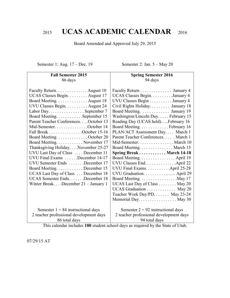 Uvu Academic Calendar.2015 2016 Ucas Academic Calendar Updated