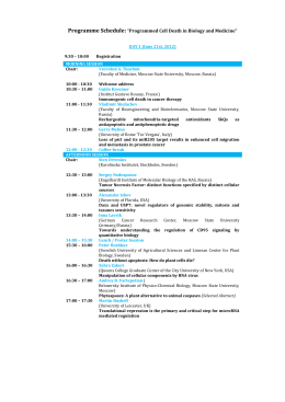 "Programme Schedule: ""Programmed Cell Death in Biology and"