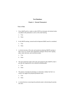 Test Database Chapter 6 – Demand Management True or False On