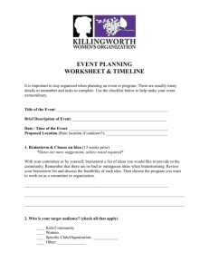 KWO Event Planning worksheet - Killingworth Women`s Organization