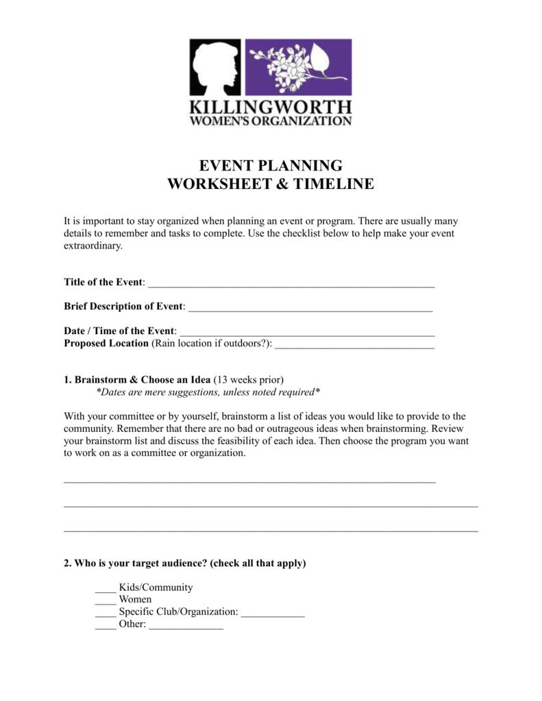 Kwo Event Planning Worksheet Killingworth Womens Organization