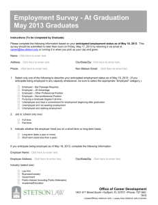 Employment Survey - At Graduation May 2013 Graduates