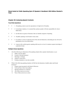 Study Guide for Public Speaking Quiz #5 Speaker`s Handbook 10th