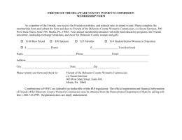Membership Form - Friends of the Delaware County Women`s