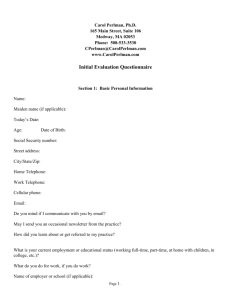 Initial Behavioral Health Questionnaire Form