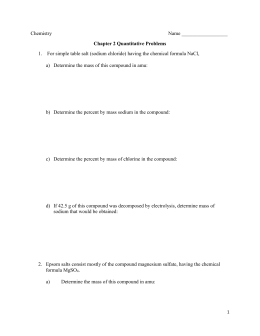 Chemistry Name Chapter 2 Quantitative Problems For simple table