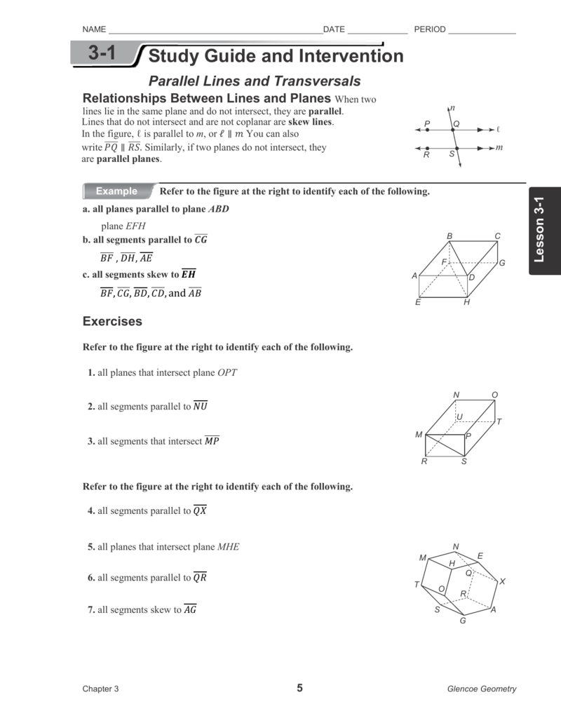 worksheet Parallel Lines And Transversals Worksheets 3 1