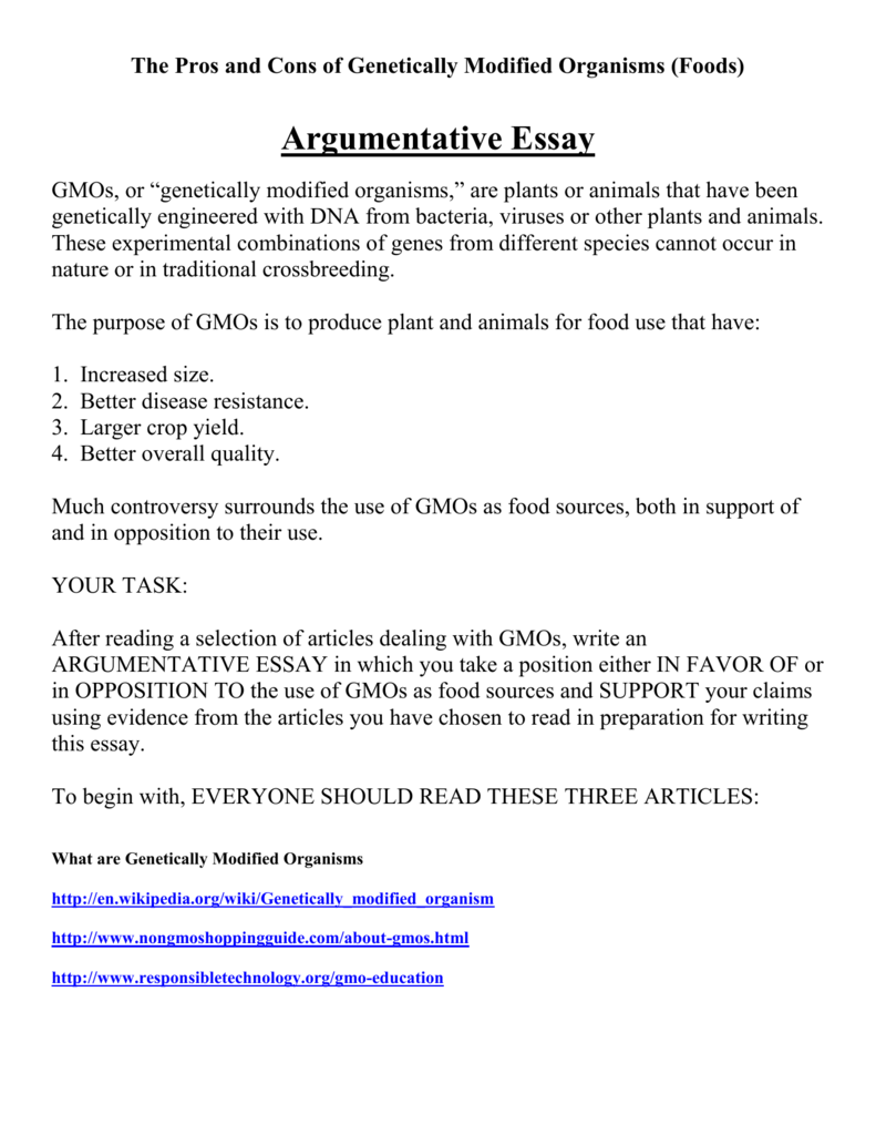 Argumentative essay genetically modified food