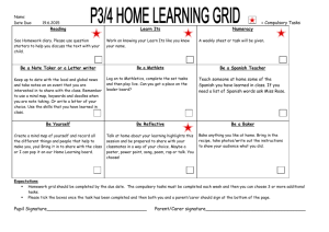 P3 4 Home Learning Grid