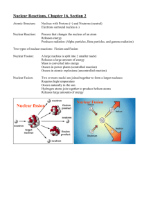 Nuclear Reactions, Chapter 16, Section 2