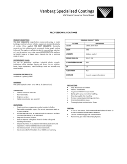 VSC Rust Converter Data Sheet - Vanberg Specialized Coatings