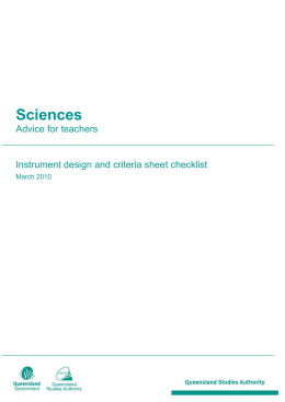Instrument design and criteria sheet checklist