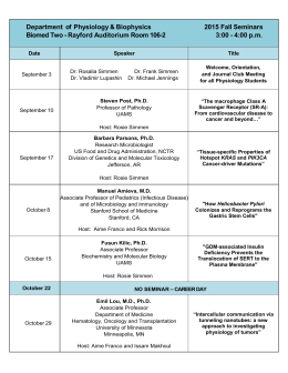 Department of Physiology & Biophysics 2015 Fall Seminars