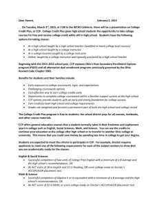 CCP Parent letter - West Carrollton Schools