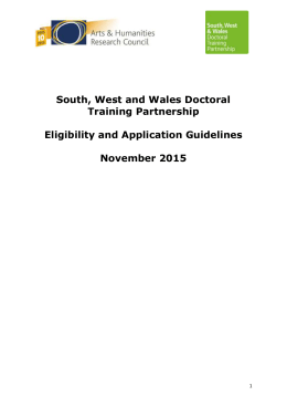 South, West and Wales Doctoral Training Partnership Eligibility and