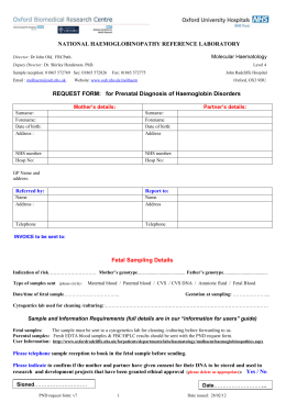 National Haemoglobinopathy Reference Laboratory request form