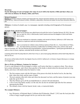 Write an obituary assignment examples