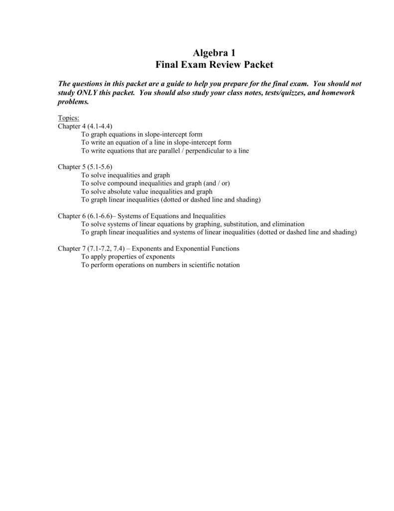 Algebra I Final Exam Review Packet