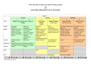 Year four planner - Peter Hills with St Mary`s & St Paul`s