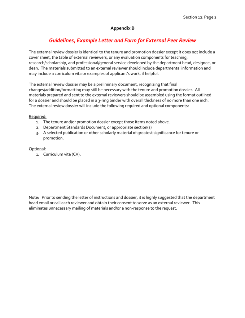Sample letter to external reviewer spiritdancerdesigns Images