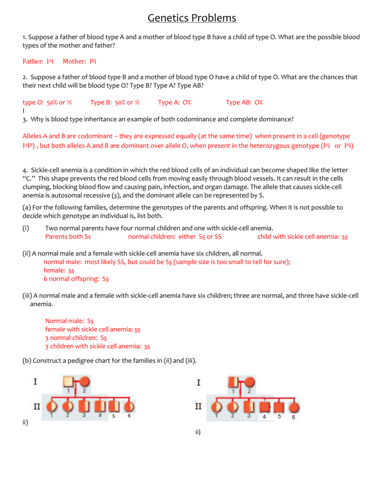 Genetics Problems Worksheet Answer Key