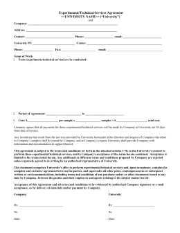 Experimental/Technical Services Agreement (DOC)