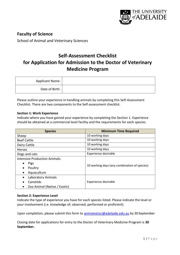 Self-Assessment Checklist