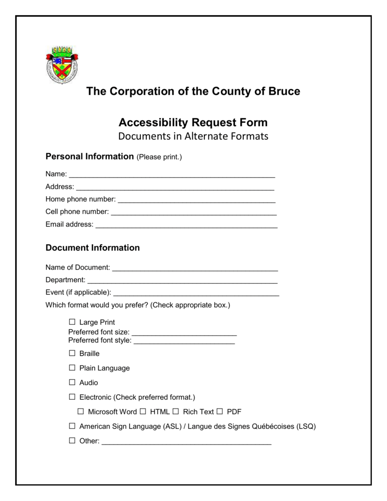 Accessibility Request Form (Word version) With Check Request Template Word
