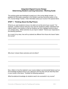 Determining Student Learning Outcomes—Working Guide